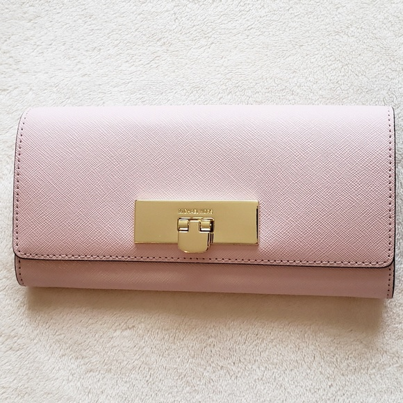 Michael Kors Handbags - Michael Kors Pink Leather Turn-Lock Wallet